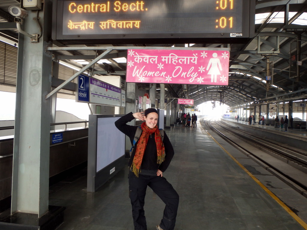 Ladies Only Car on Delhi metro system is Delhi safe for women? female India travel blog Delhi travel guide