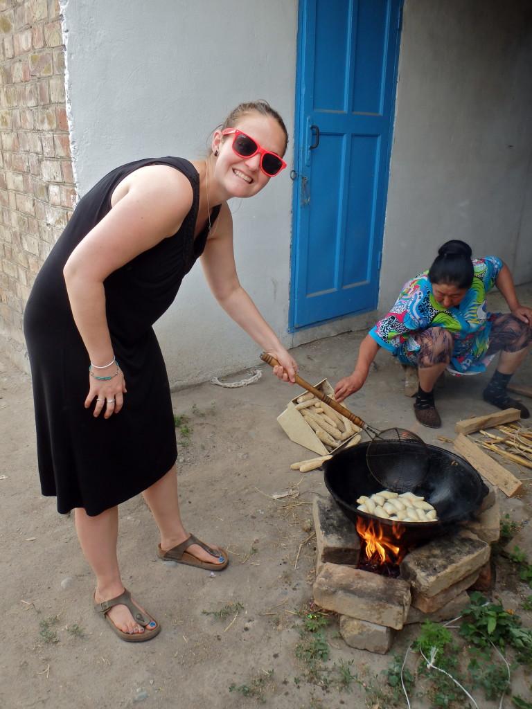 Kyrgyz cooking food
