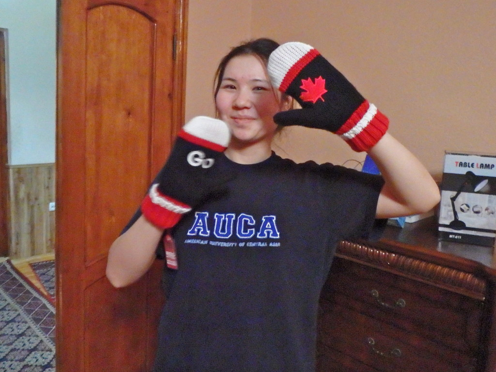 Aneesa digs her Canada mittens