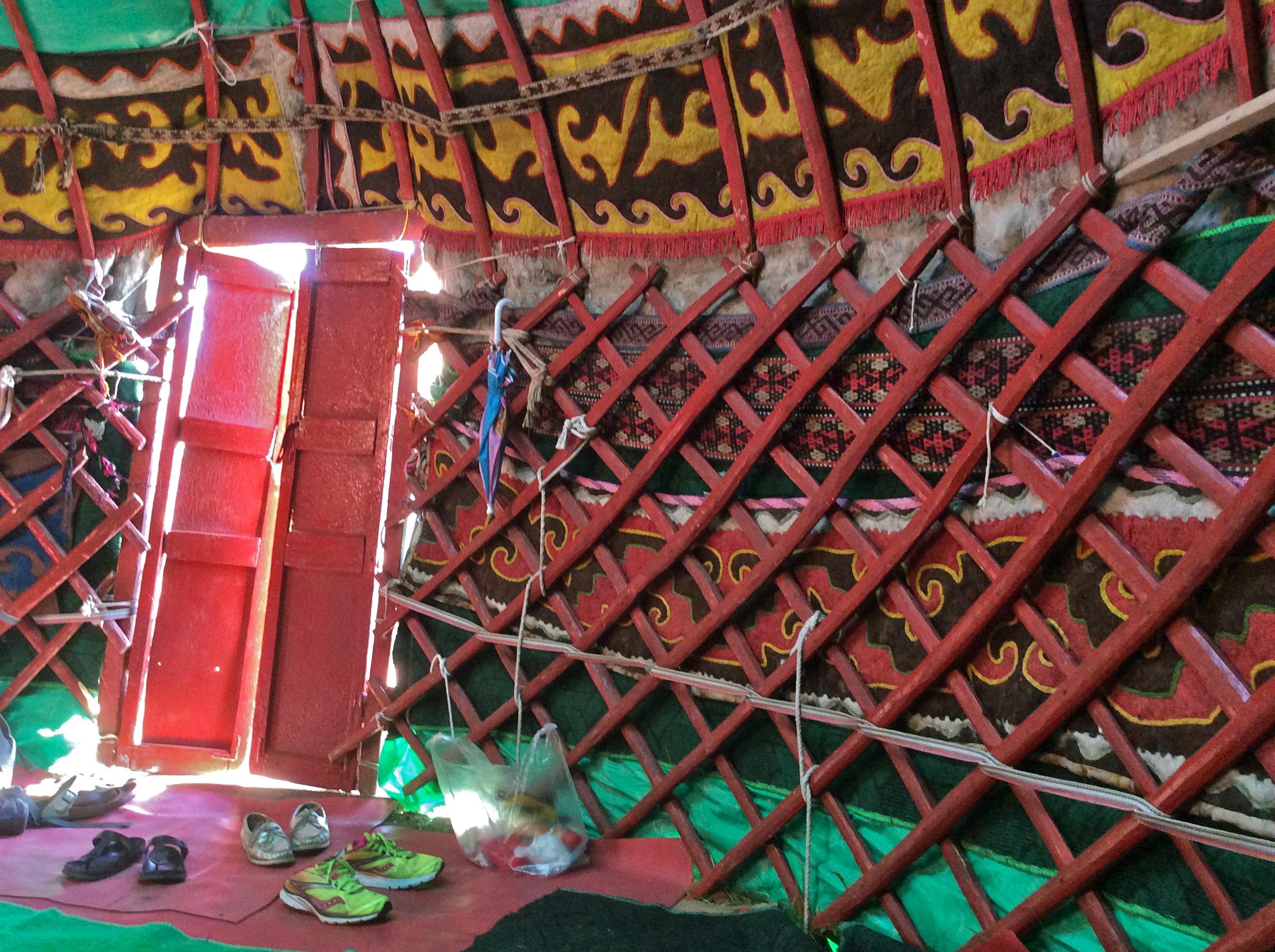 sleeping in a yurt, Kyrgyzstan
