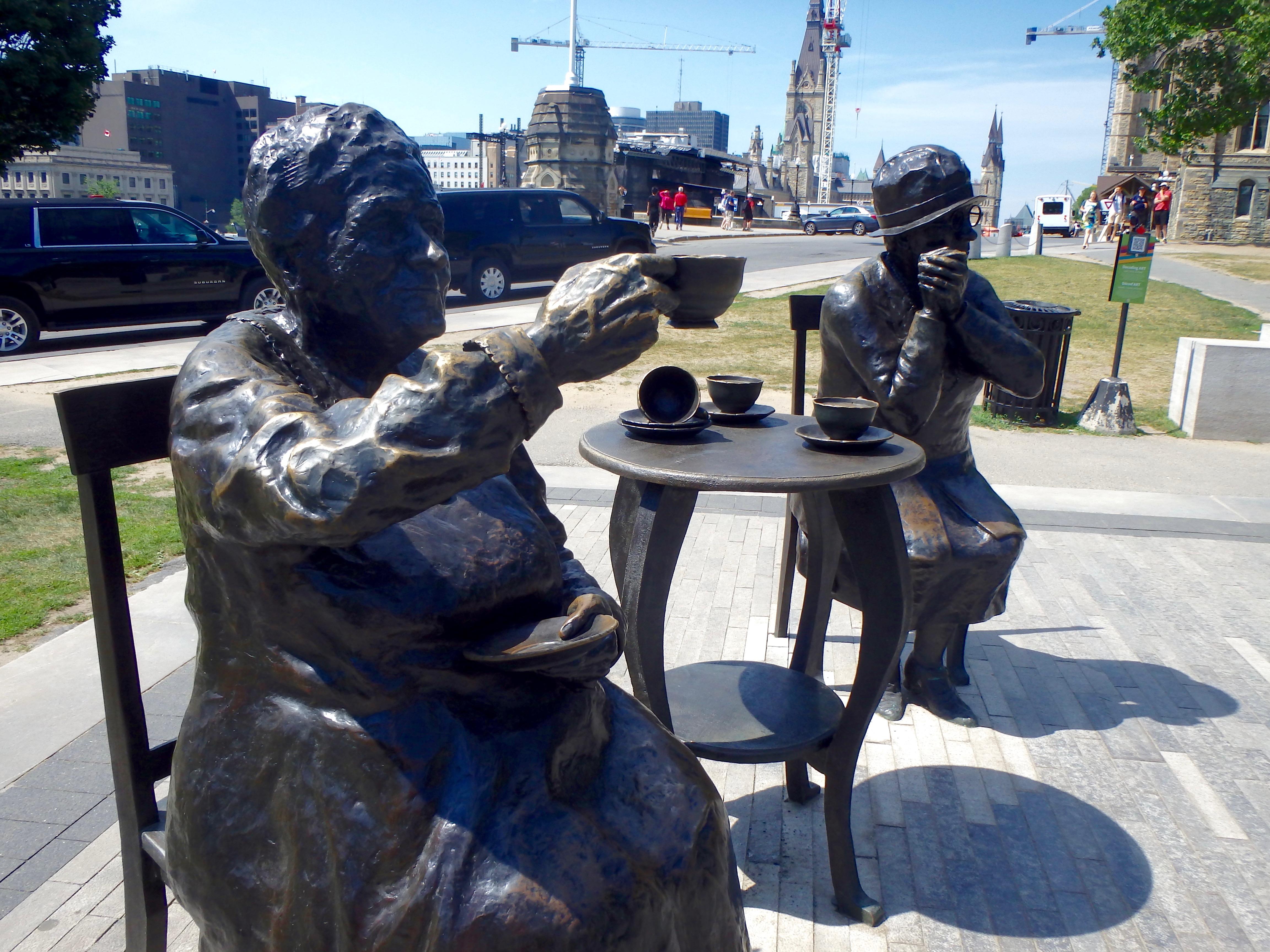 the tea party statue parliament ottawa famous 5 emily murphy statue