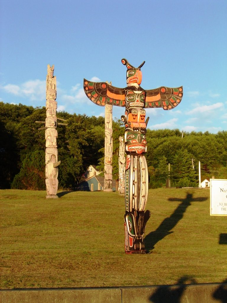 Alert Bay Cemetery totem poles in BC travel blog