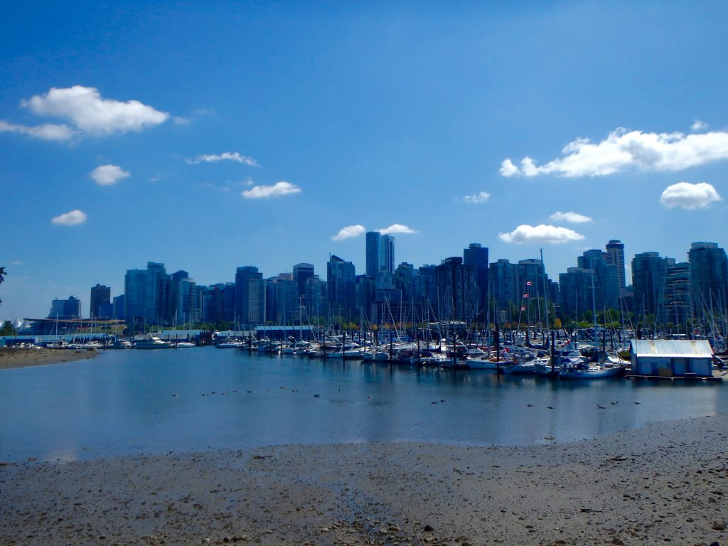Vancouver Skyline from Stanley Park best hostels in Vancouver BC hostels vancouver downtown